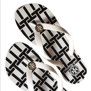 White/navy Tory Burch Flip Flops size 9